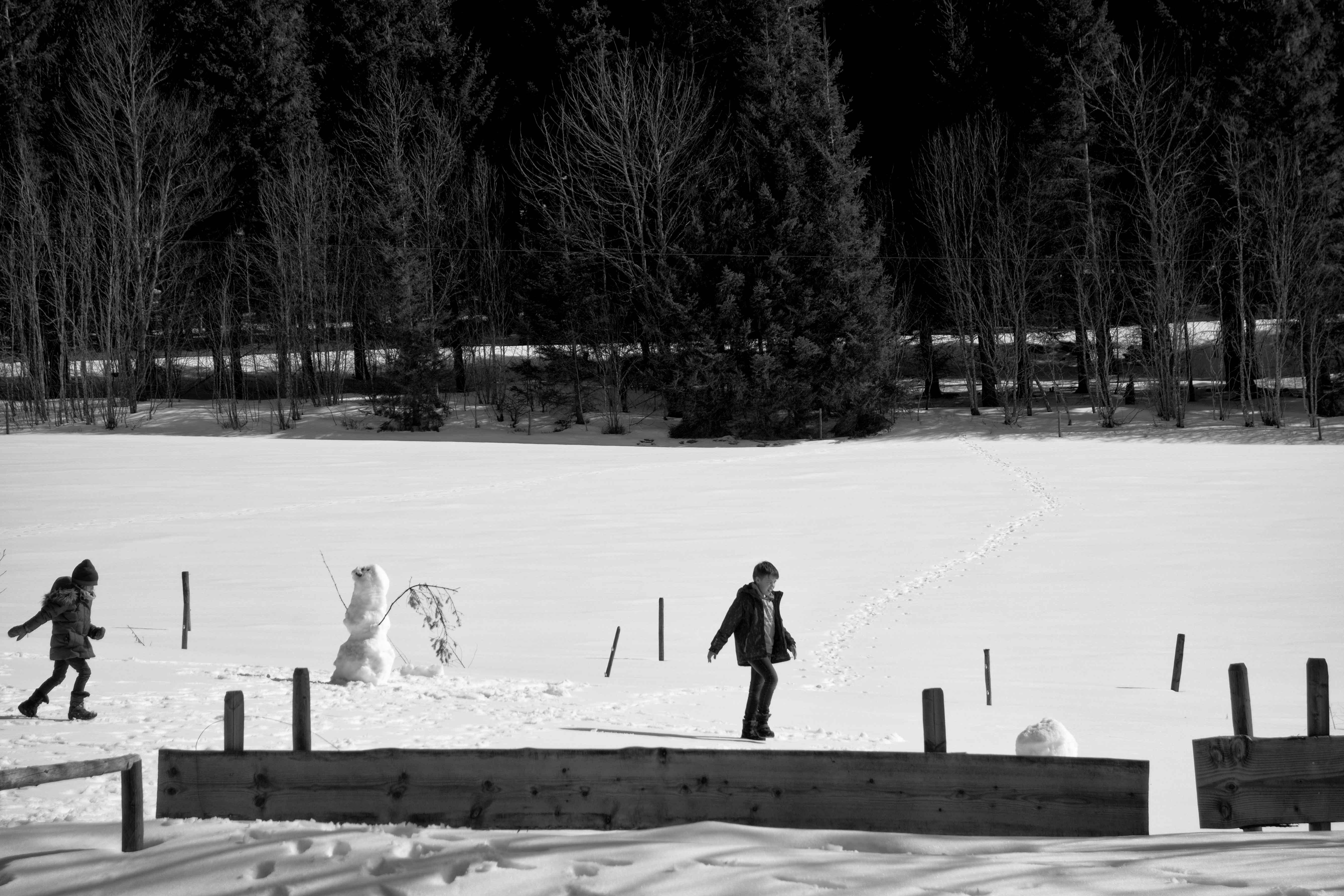 Hinterzarten, forêt noire Allemagne, on fait un bonhomme de neige